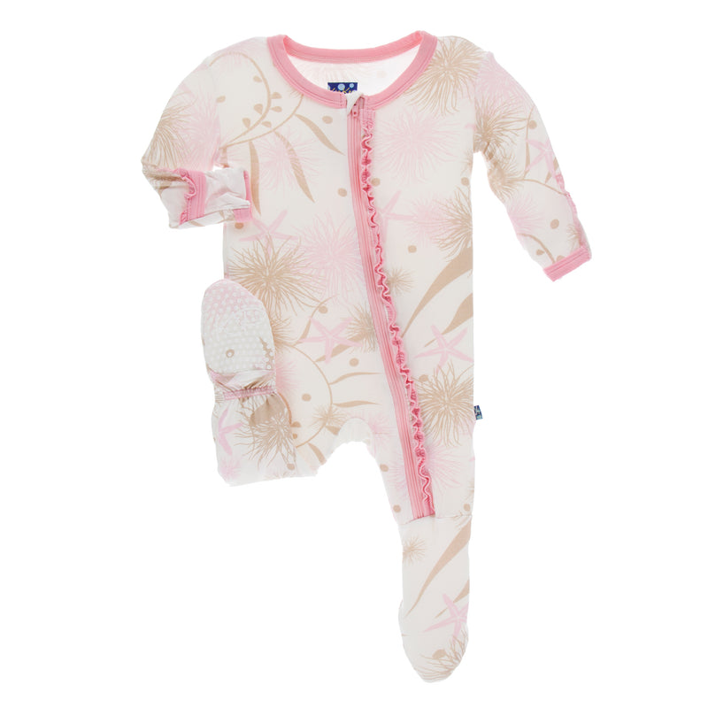 Print Classic Ruffle Footie with Zipper in Natural Sea Garden