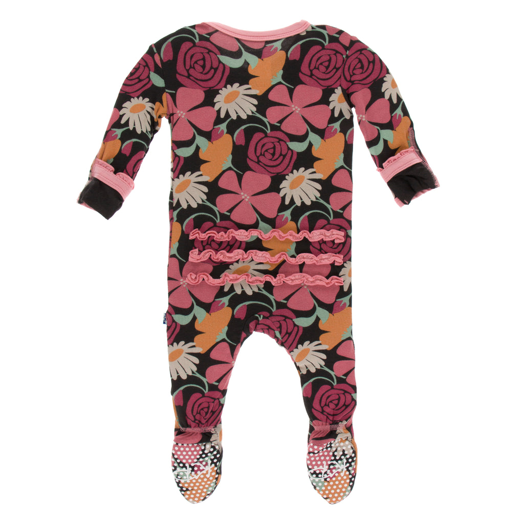 Print Muffin Ruffle Footie with Zipper in Zebra Market Flowers