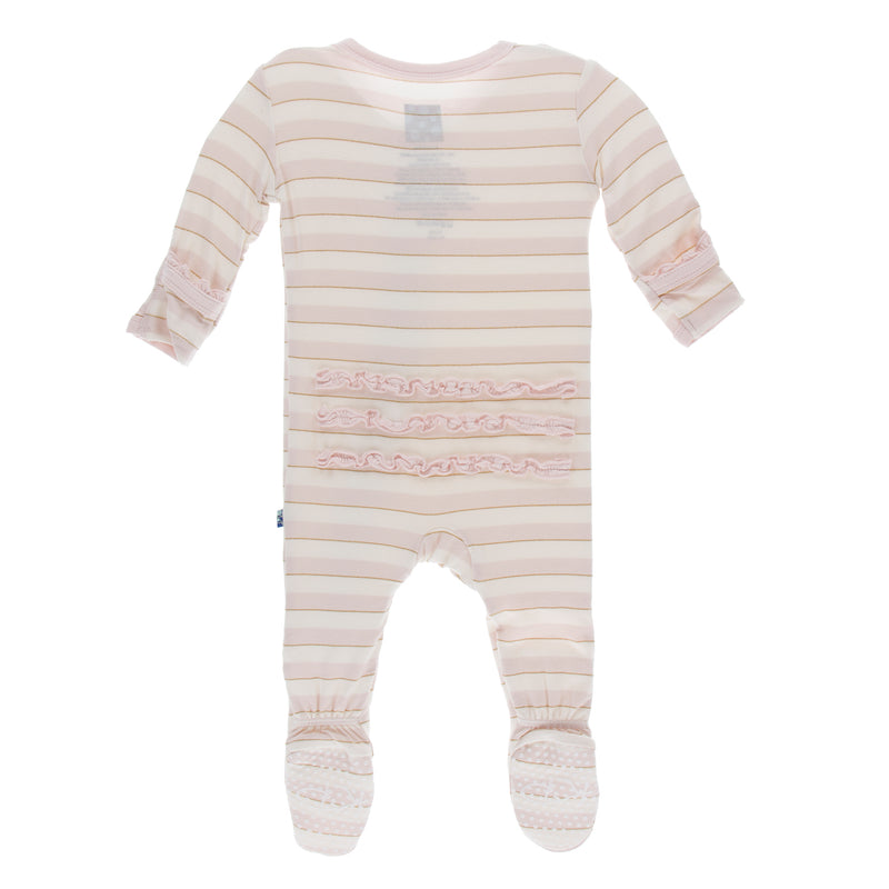 Print Muffin Ruffle Footie with Zipper in Everyday Heroes Sweet Stripe