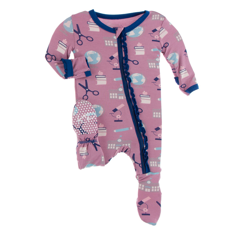 Print Muffin Ruffle Footie with Zipper in Pegasus Education