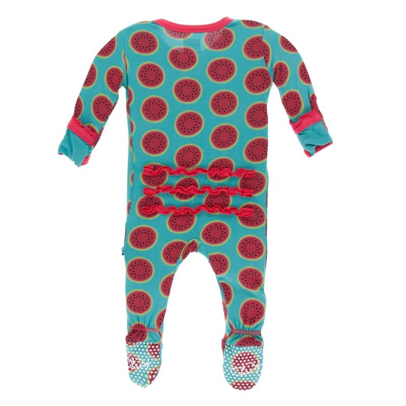 Print Muffin Ruffle Footie with Zipper in Neptune Watermelon