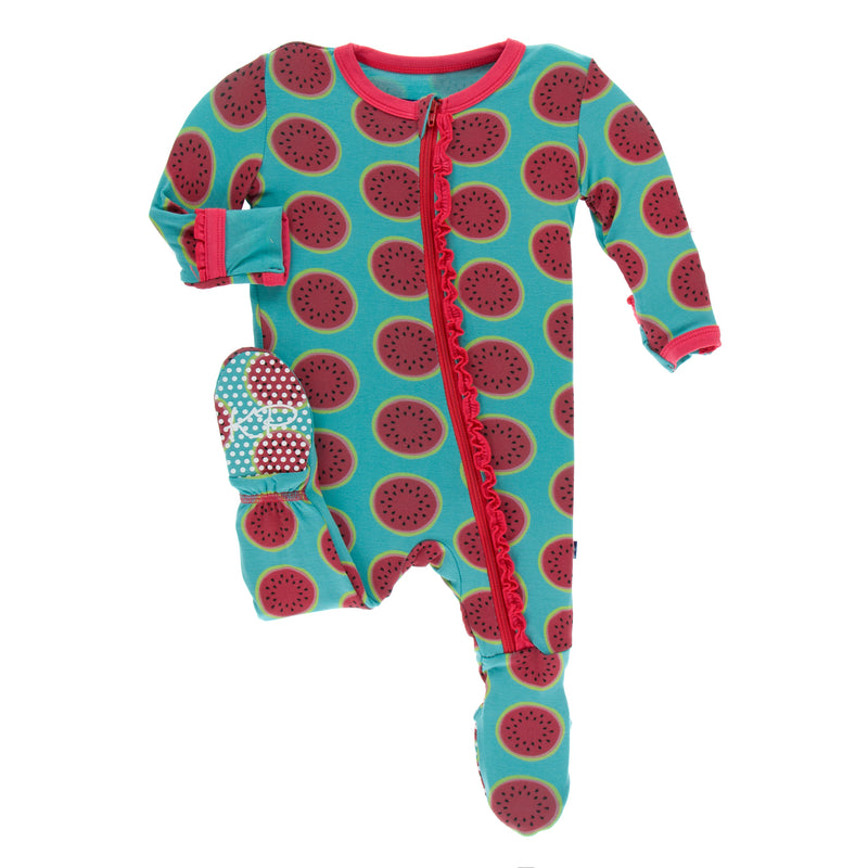 Print Classic Ruffle Footie with Zipper in Neptune Watermelon (3-6M)