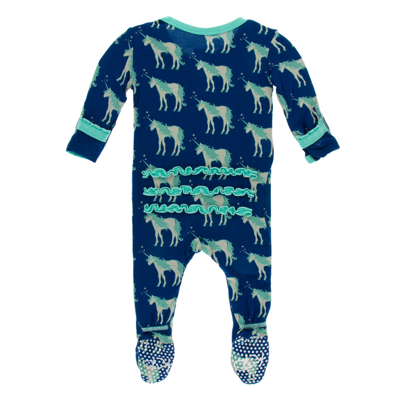 Print Muffin Ruffle Footie with Zipper in Flag Blue Unicorns