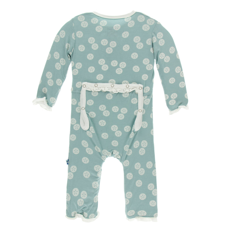 Print Classic Ruffle Coverall with Zipper (Jade Sand Dollar - 3-6 Months)