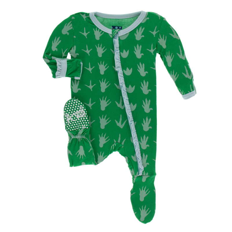 Print Muffin Ruffle Footie with Zipper-Dino Tracks