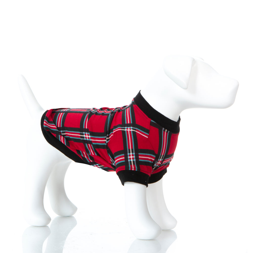 Print Dog Tee in Christmas Plaid-XS