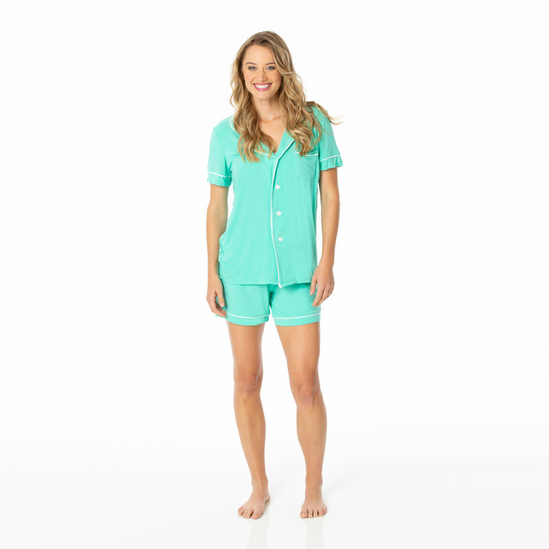 Women's Solid Short Sleeve Collared Pajama Set with Shorts in Glass with Natural