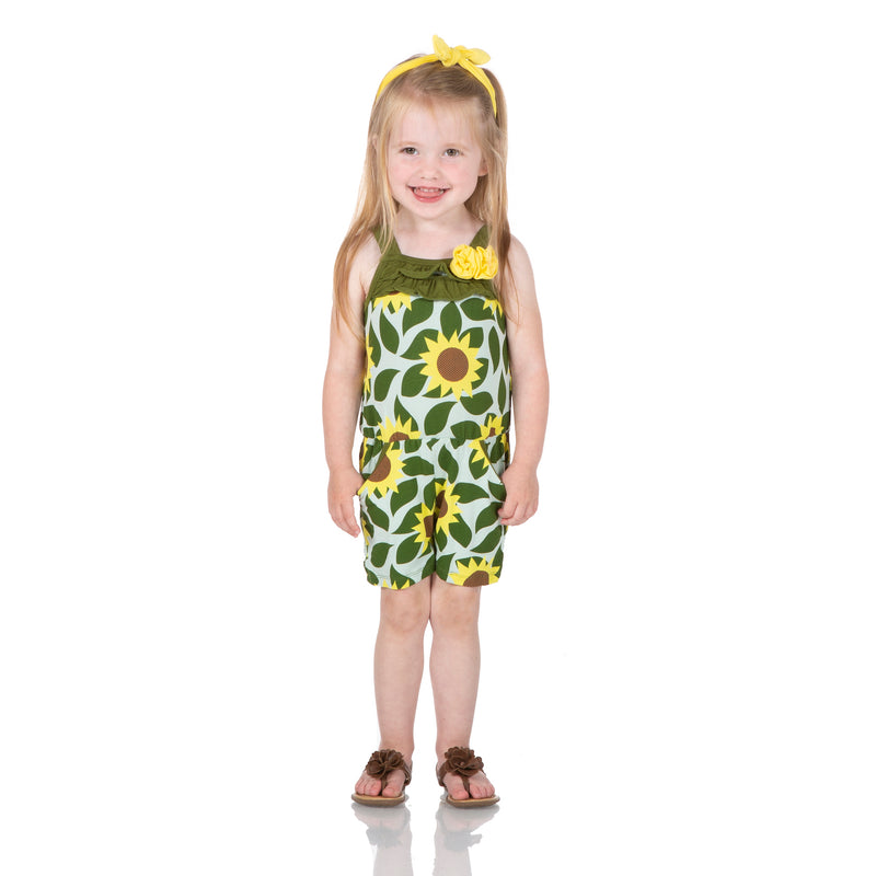 Print Flower Romper with Pockets in Aloe Sunflower