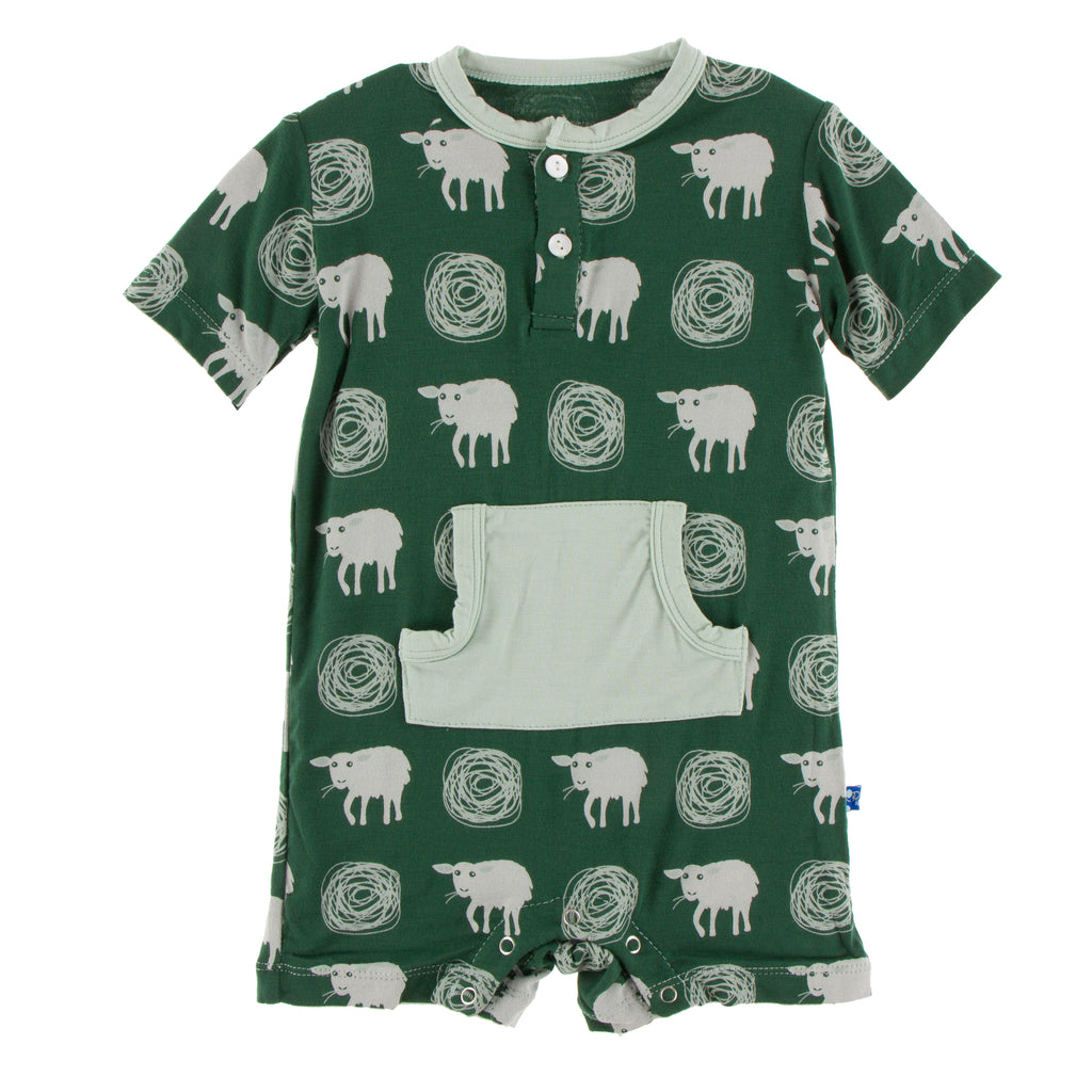 Print Kangaroo Romper in Topiary Tuscan Sheep