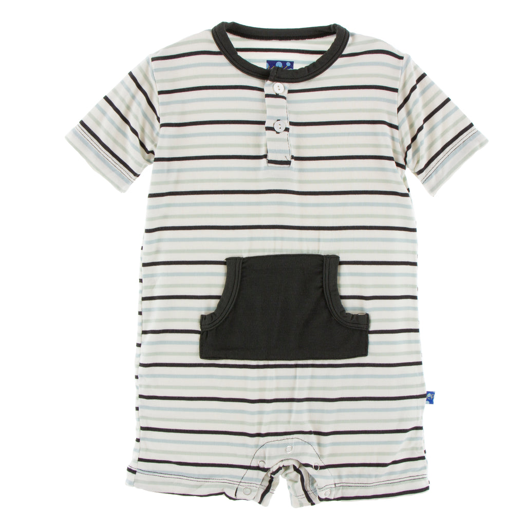 Print Kangaroo Romper in Tuscan Afternoon Stripe