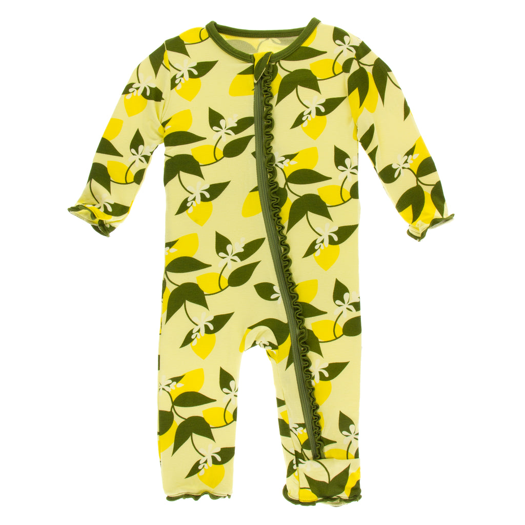 Print Muffin Ruffle Coverall with Zipper in Lime Blossom Lemon Tree