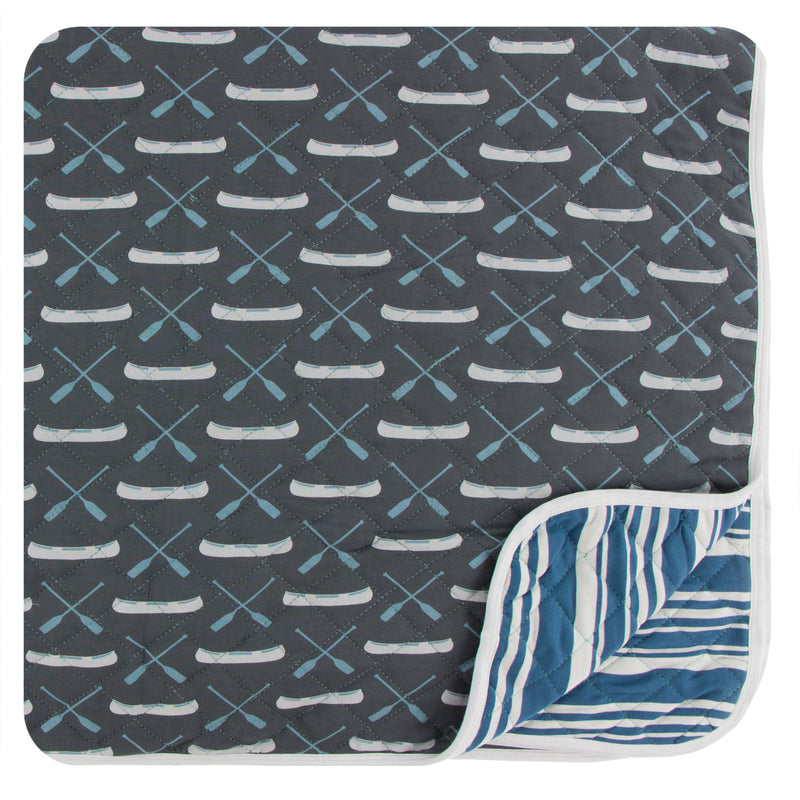 Print Quilted Throw Blanket in Stone Paddles and Canoe/Fishing Stripe