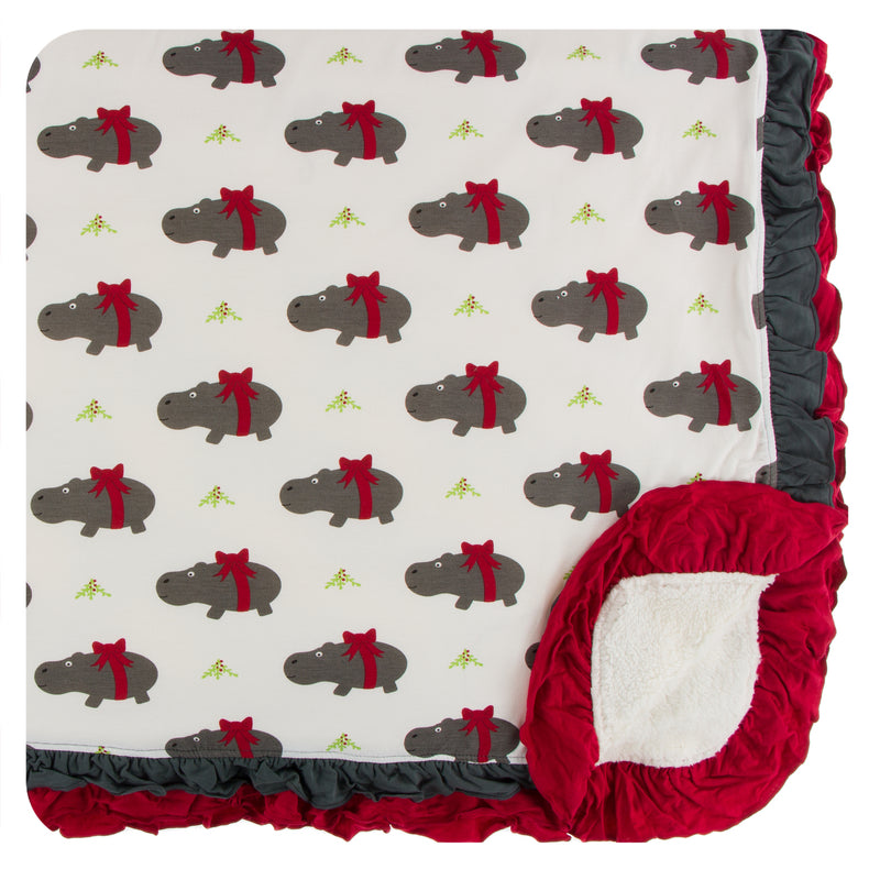 Print Sherpa-Lined Double Ruffle Stroller Blanket (Natural Christmas Hippo - One Size)