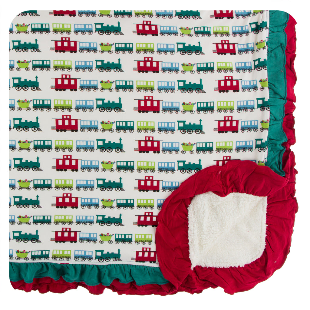 Print Sherpa-Lined Double Ruffle Stroller Blanket (Natural Toy Train - One Size)