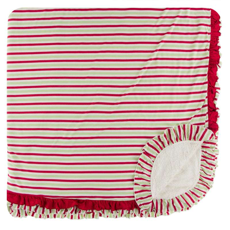 **2nd Delivery**Print Sherpa-Lined Double Ruffle Throw Blanket (2020 Candy Cane Stripe - One Size)