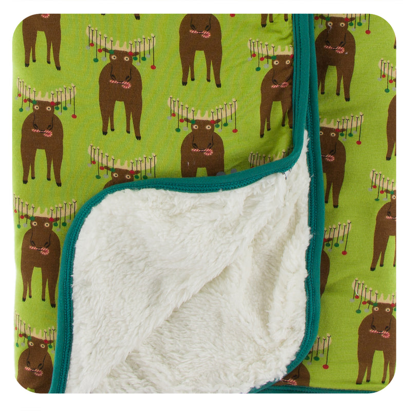 Print Sherpa-Lined Stroller Blanket (Meadow Bad Moose - One Size)