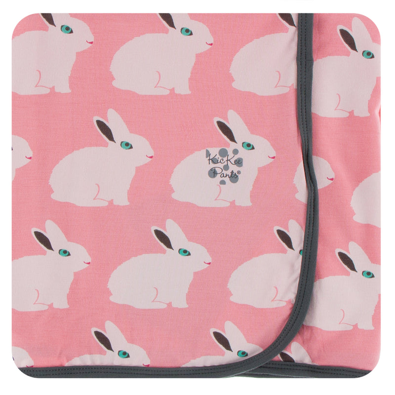 Print Swaddling Blanket in Strawberry Forest Rabbit