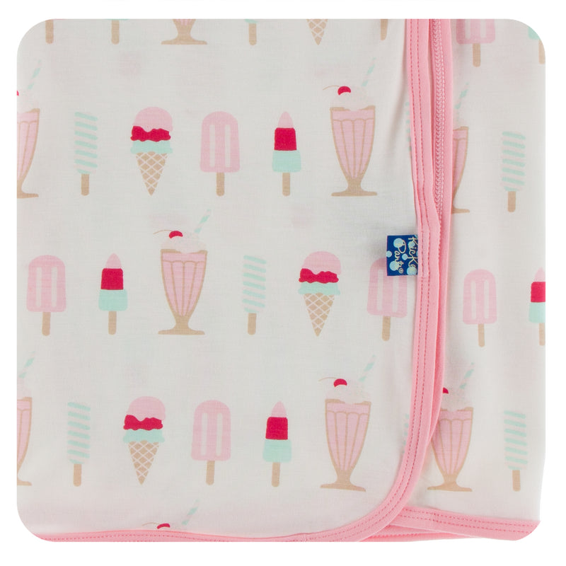 Print Swaddling Blanket in Natural Ice Cream Shop