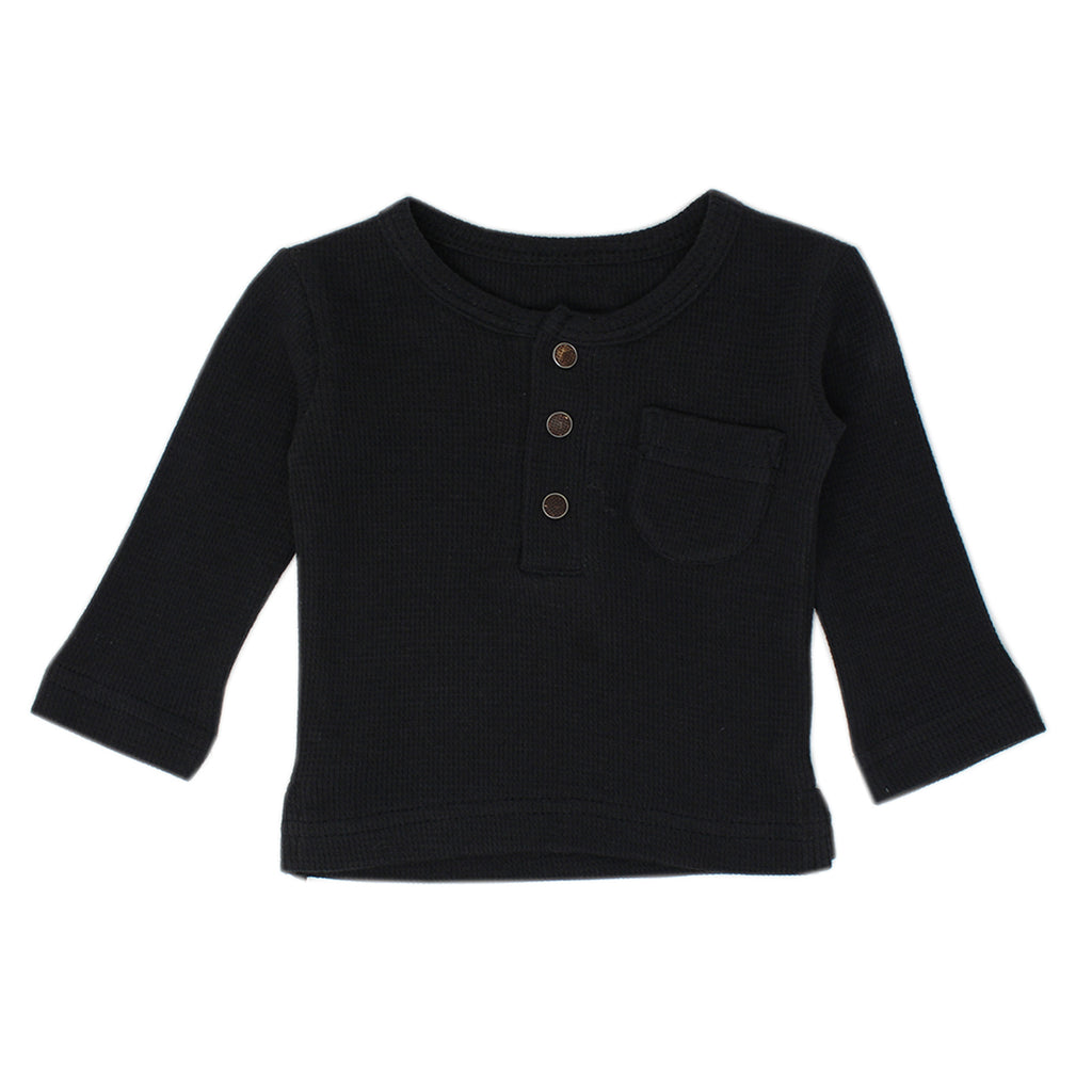 Organic Thermal Kids' Long Sleeve Shirt and Jogger Set in Black