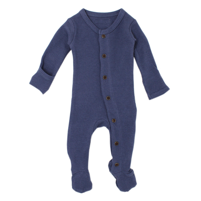Organic Thermal Footed Overall in Dusk