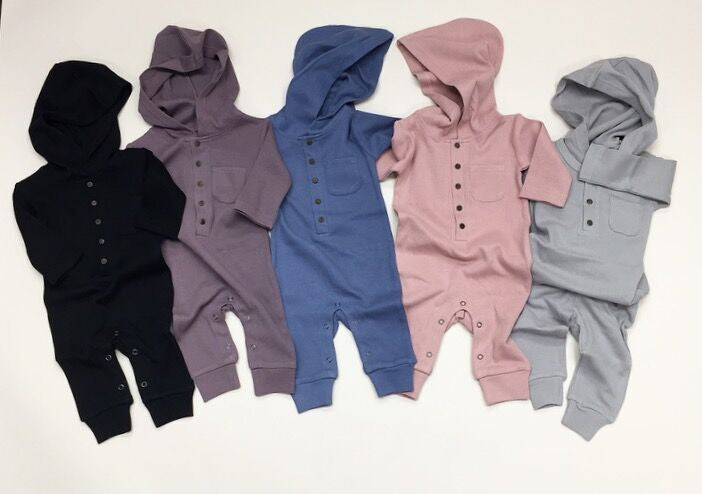 Organic Thermal Hooded Romper- Slate