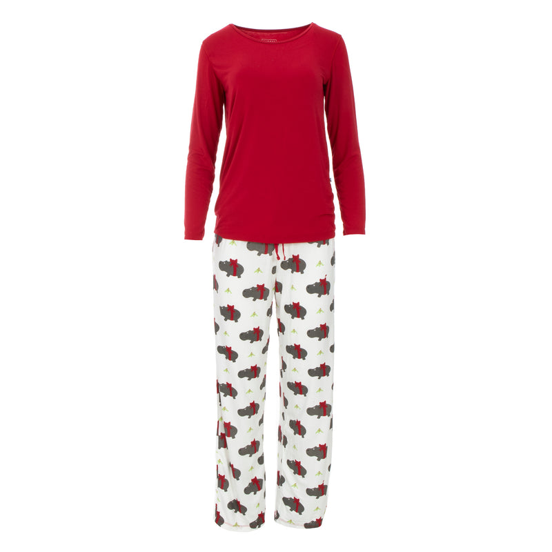 Women's Long Sleeve Loosey Goosey Tee & Pants Set in Natural Christmas Hippo