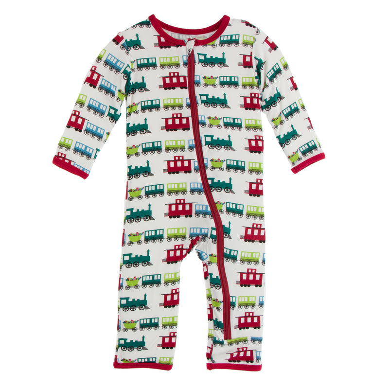 Print Coverall with Zipper in Natural Toy Train