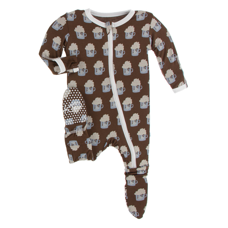 Print Footie with Zipper in Hot Cocoa - 12-18 Months
