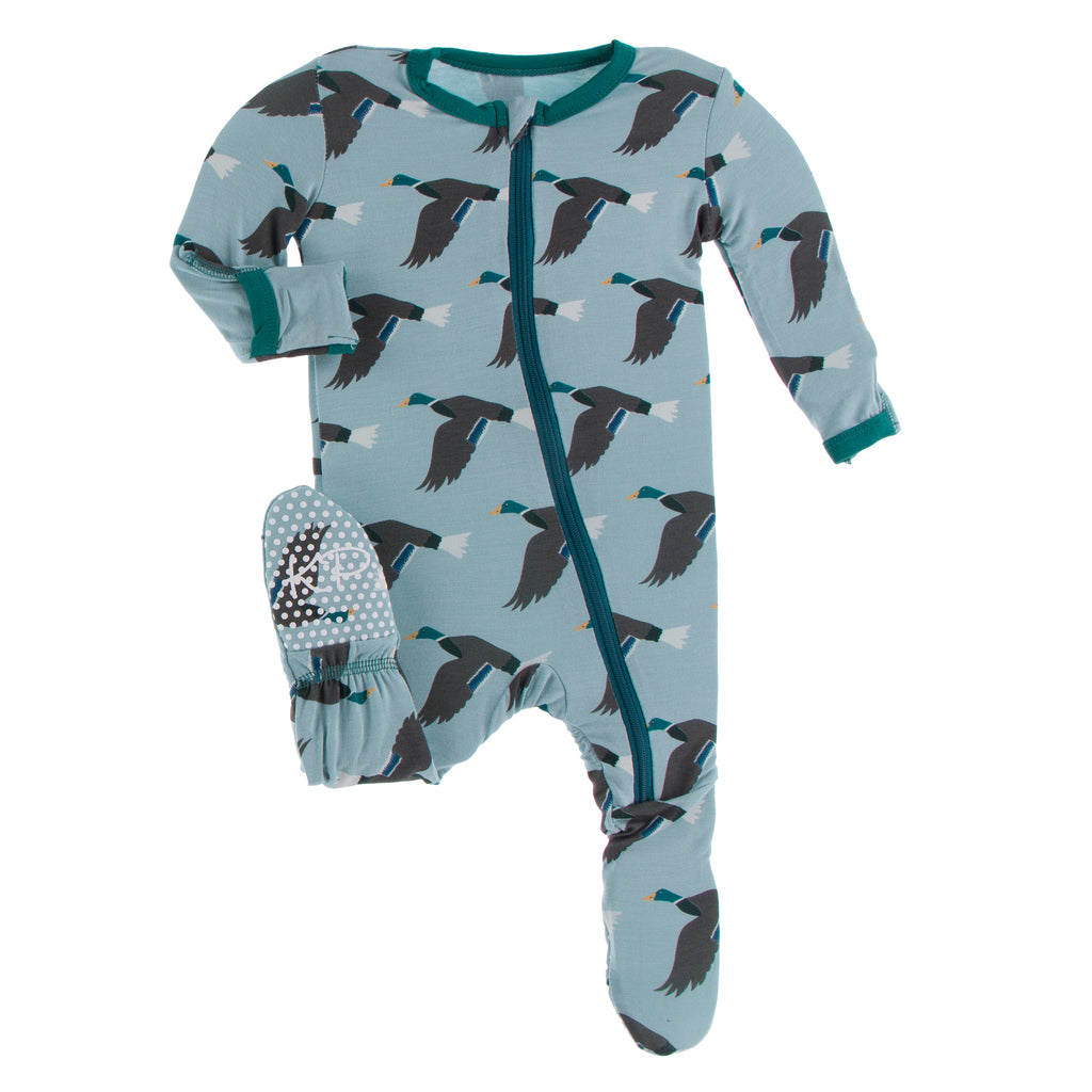 Print Footie with Zipper in Jade Mallard Duck  - 18-24 Months