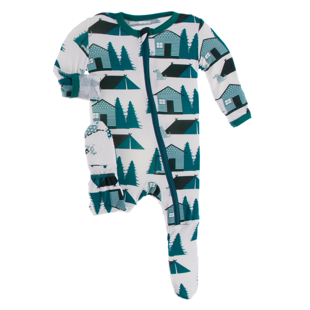 Print Footie with Zipper in Natural Cabins and Tents - 18-24 Months