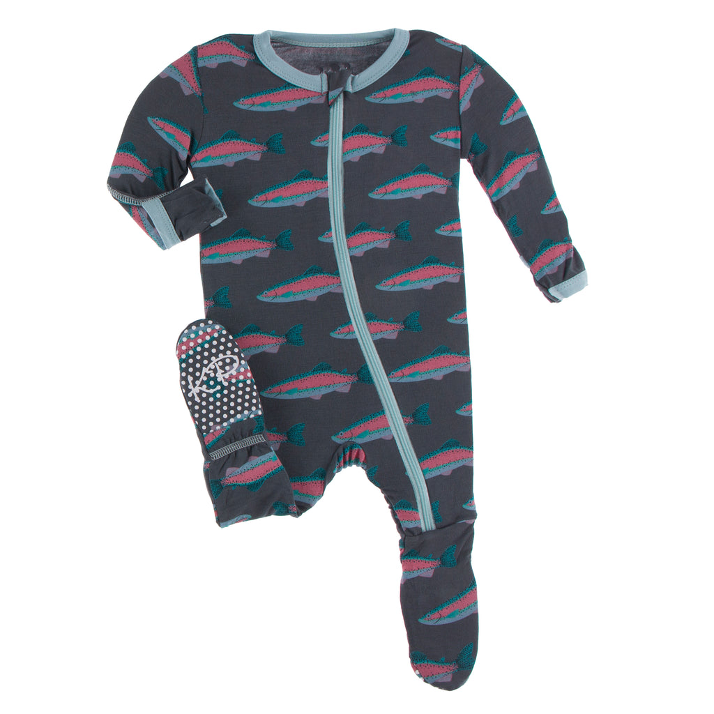 Print Footie with Zipper in Stone Rainbow Trout - 18-24 Months