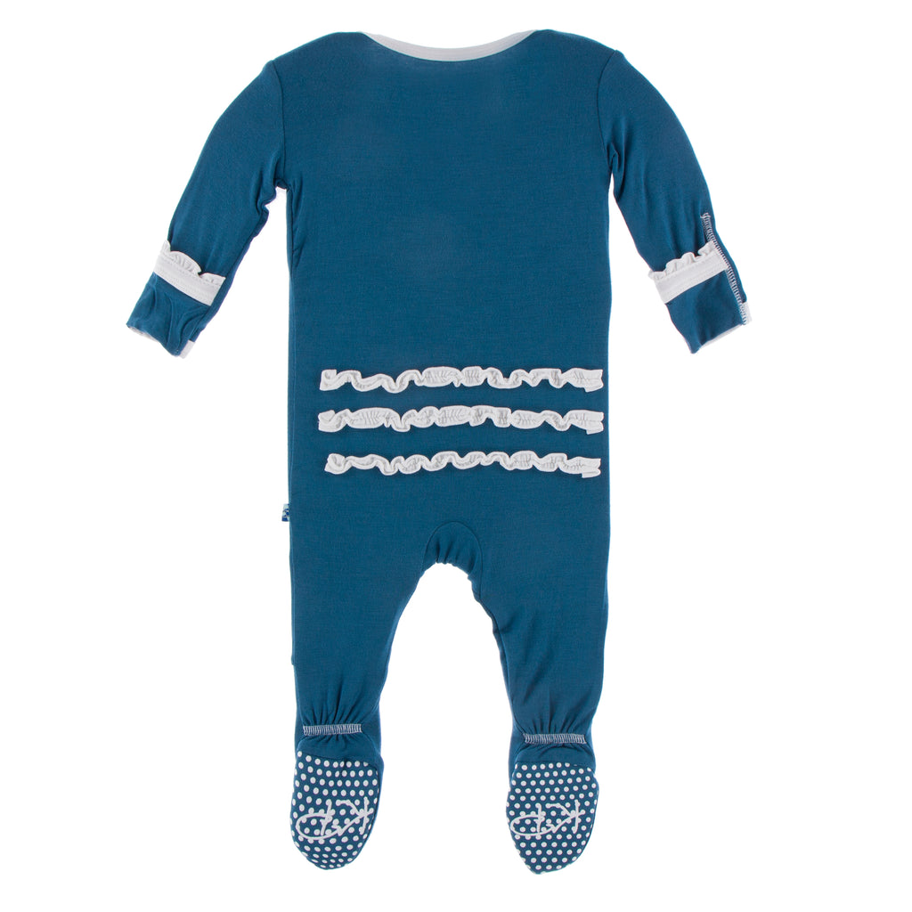 Solid Muffin Ruffle Footie with Zipper in Neptune with Dew  - 12-18M