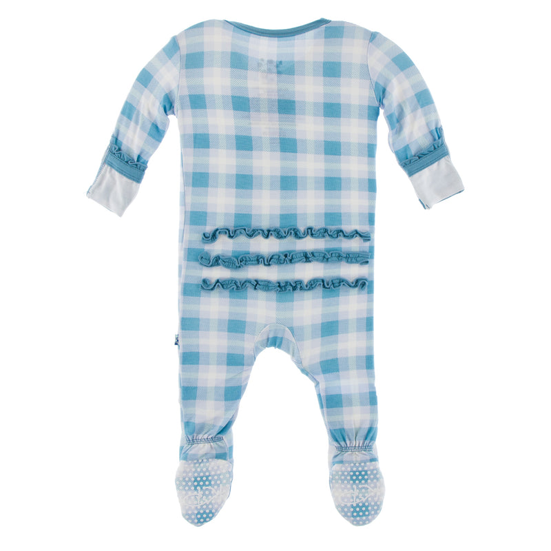 Print Muffin Ruffle Footie with Zipper (Blue Moon 2020 Holiday Plaid - 18-24 Months)
