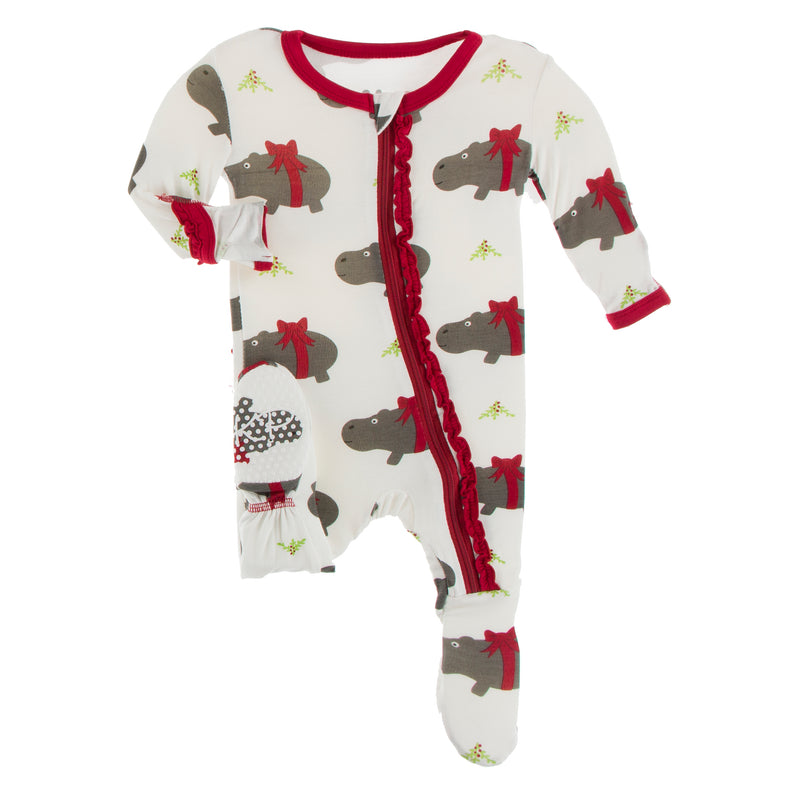 Print Muffin Ruffle Footie with Zipper in Natural Christmas Hippo