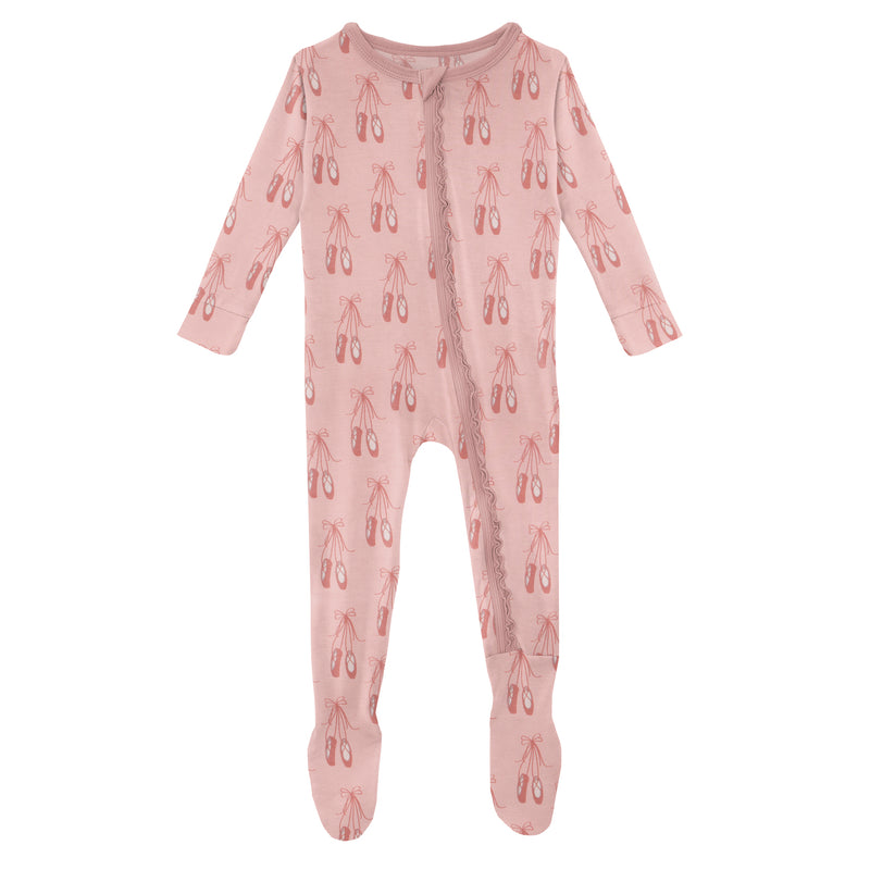 Print Muffin Ruffle Footie with Zipper in Baby Rose Ballet