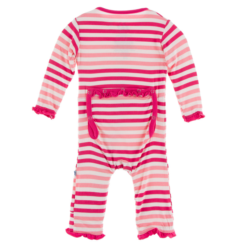 Print Muffin Ruffle Coverall with Zipper in Forest Fruit Stripe
