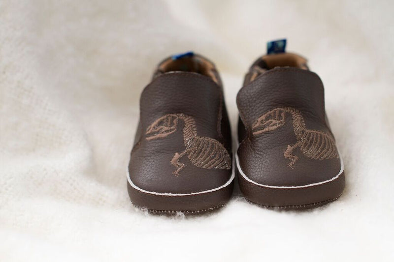 Soft Sole Shoes- T-Rex Dig Embroidery in Bark
