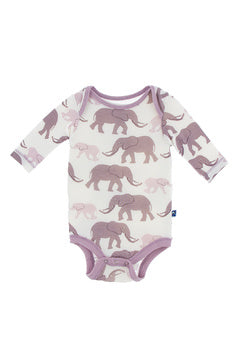 Kickee Pants Long Sleeve One Piece - Natural Elephant