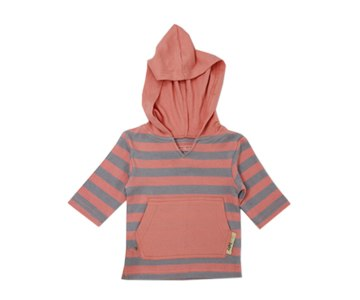 Organic Cotton Hoodie- Coral/Light Gray Stripe