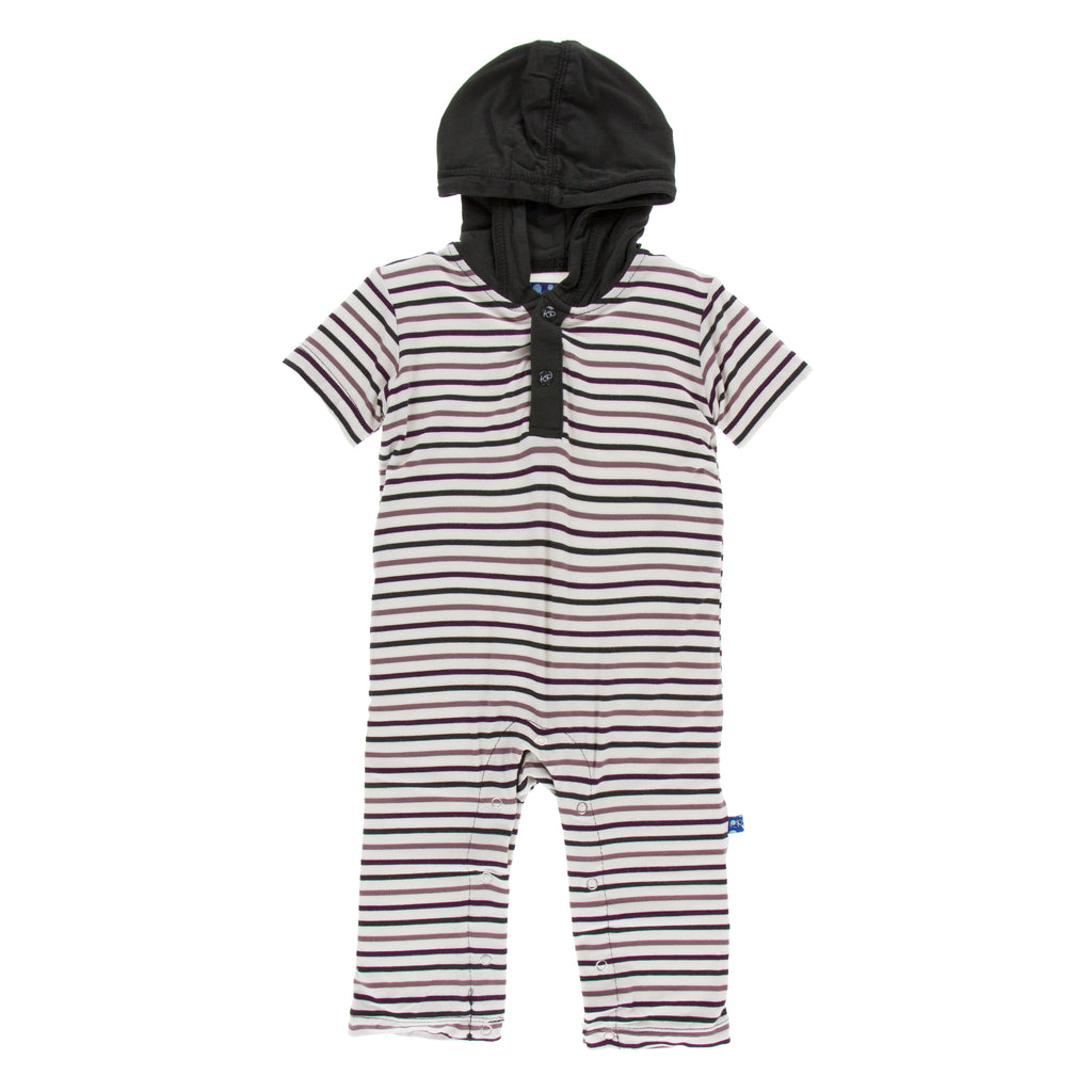 Print short sleeve hoodie romper- Tuscan Vineyard Stripe (3T)