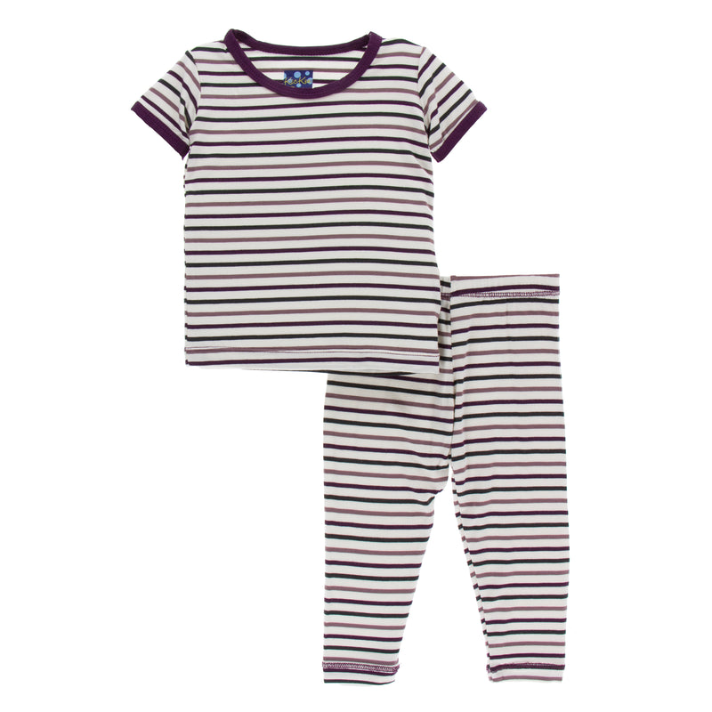 Print Short Sleeve Pajama Set- Tuscan Vineyard Stripe