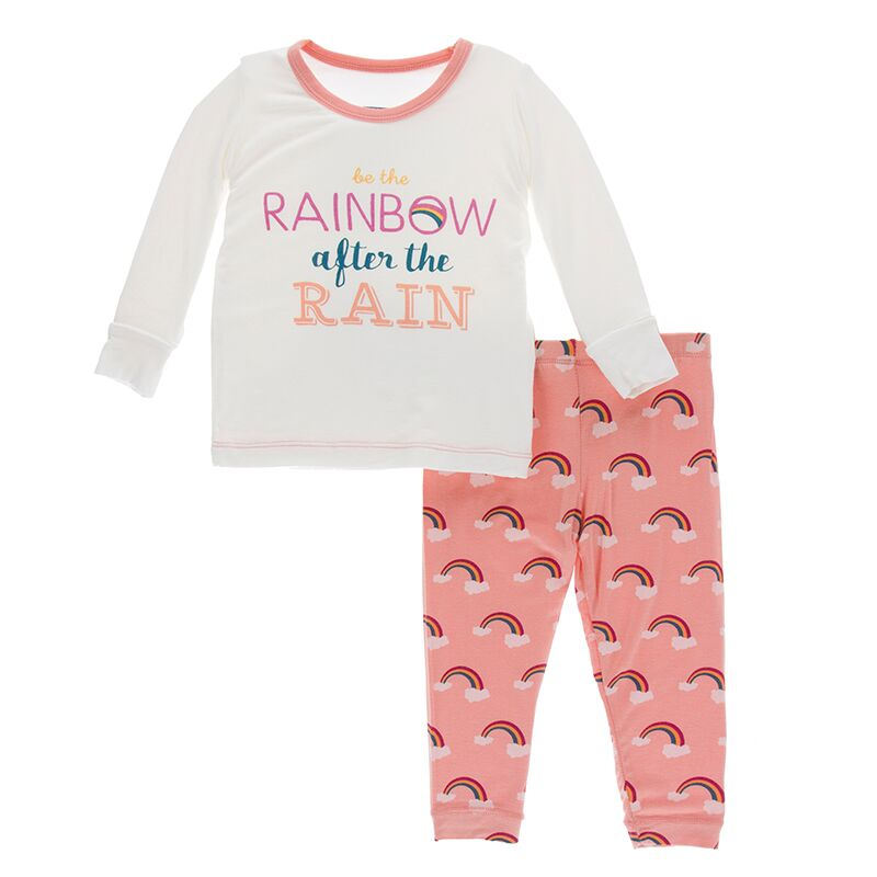 Print Long Sleeve Pajama Set in Blush Rainbow After the Rain
