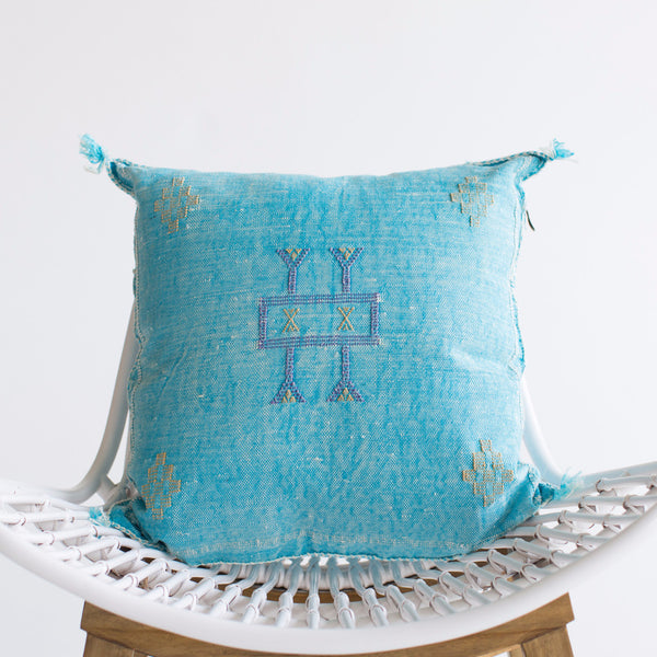 Aqua Sabra Silk Pillow