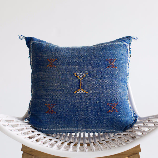 Cobalt Sabra Silk Pillow