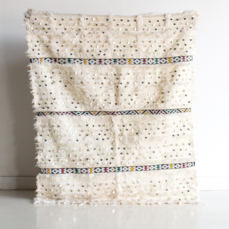 Snowy Morning Wool and Cotton Wedding Blanket