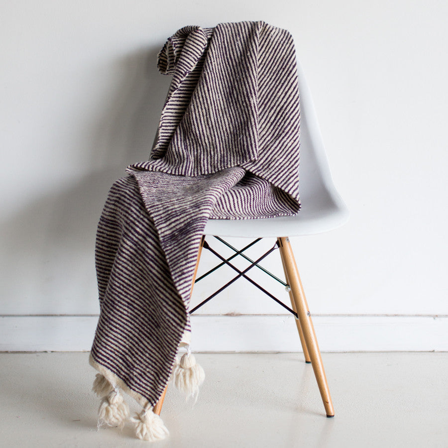 Plum Striped Wool Throw