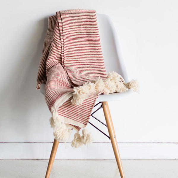 Paprika Striped Wool Throw
