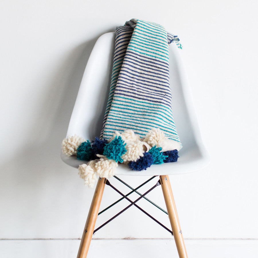 Ocean and the Sky Striped Wool Throw