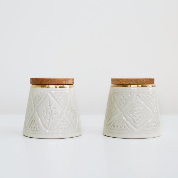 Engraved Conic Ceramic Box - Gold Rim