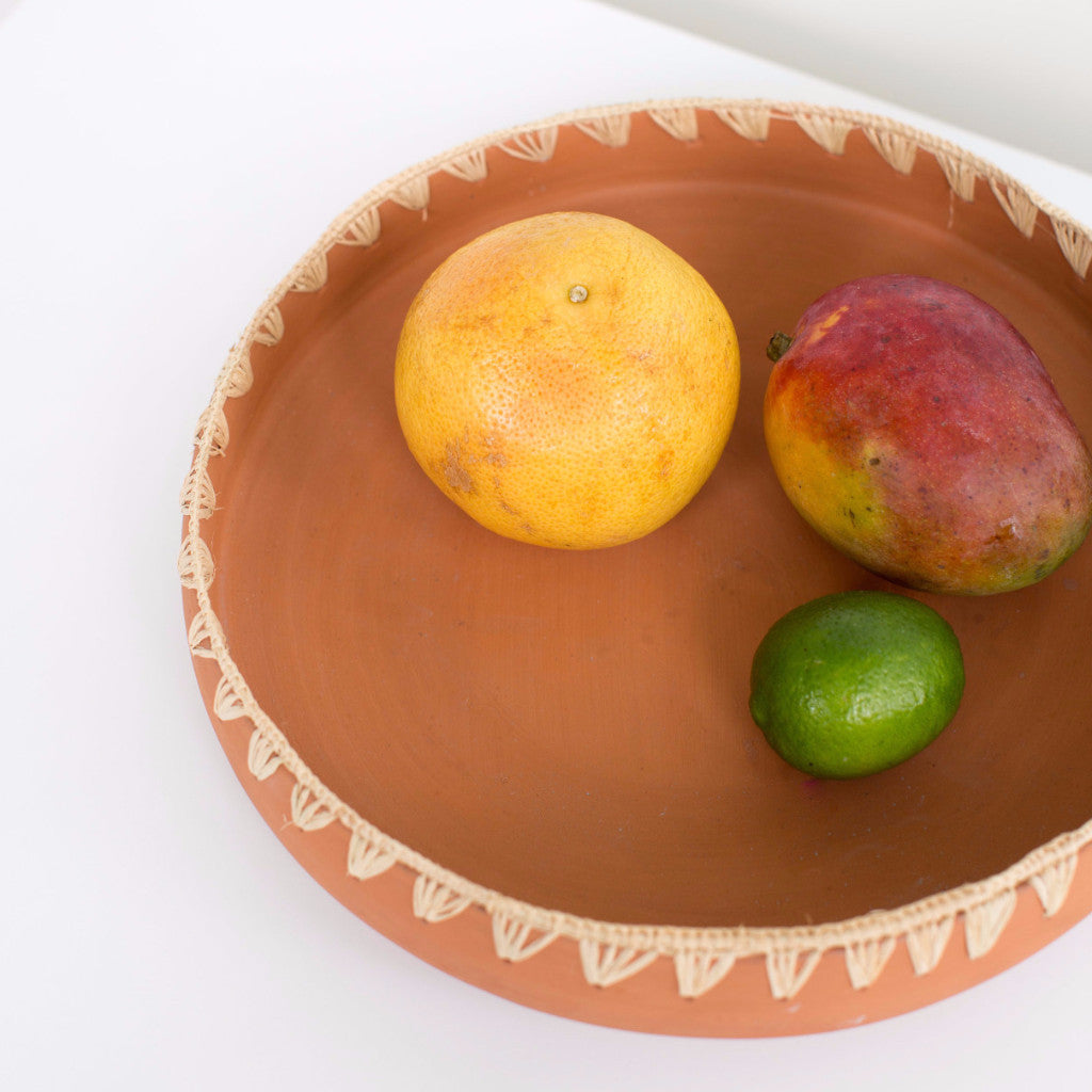 Large Embroidered Raffia Platter - Terracotta